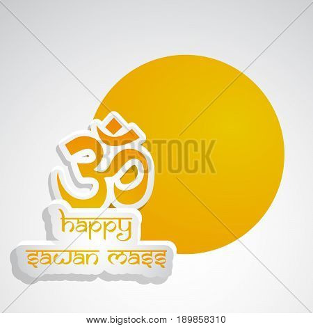 illustration of hinduism sacred sound Om in hindi language on occasion of hindu festival sawan