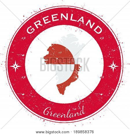 Greenland Circular Patriotic Badge. Grunge Rubber Stamp With National Flag, Map And The Greenland Wr