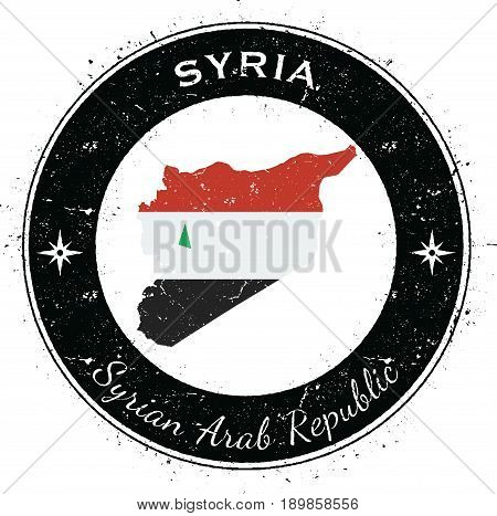 Syrian Arab Republic Circular Patriotic Badge. Grunge Rubber Stamp With National Flag, Map And The S