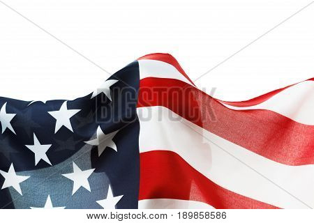 USA flag background. American symbol of independence democracy and patriotism. Isolated on white copyspace