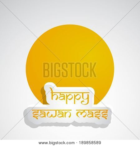 illustration of happy sawan mass text on occasion of hindu festival sawan