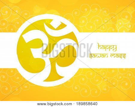 illustration of Hinduism symbol Shivling used for worship in Hindu temples with happy sawan mass text on occasion of hindu festival sawan
