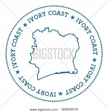 Cote D'ivoire Vector Map Sticker. Hipster And Retro Style Badge With Cote D'ivoire Map. Minimalistic