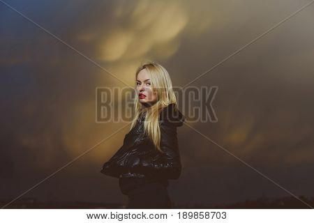 Pretty Blonde Woman With Red Lips In Leather Jacket