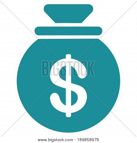 Soft Blue Money Bag toolbar icon. Vector pictogram style is a flat symbol on diagonal hatch transparent background.