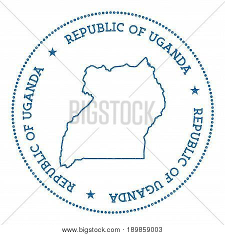 Uganda Vector Map Sticker. Hipster And Retro Style Badge With Uganda Map. Minimalistic Insignia With