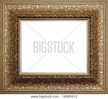 wooden picture frame border isolated on a white background