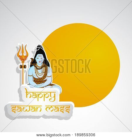 illustration of hindu god shiv with happy sawan mass text on occasion of hindu sawan festival