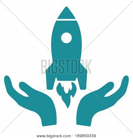 Soft Blue Rocket Startup interface toolbar pictogram. Vector pictogram style is a flat symbol on diagonal hatch transparent background.