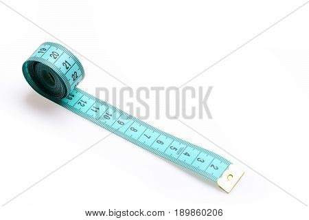 Tape For Measuring In Cyan Color Isolated On White Background