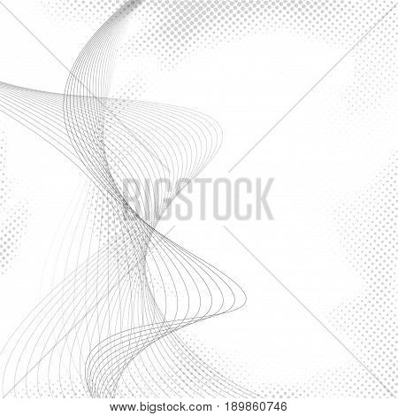 Abstract halftone dotted transparent wave background. White background with transparent blend swoosh lines and halftone dot particle in grey color. Vector illustration