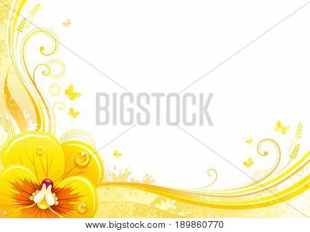 Autumn background with pansies flower, falling leaves, butterflies, abstract wave lines, swirls, grunge pattern, copy space for text. Elegant modern seasonal vector illustration.