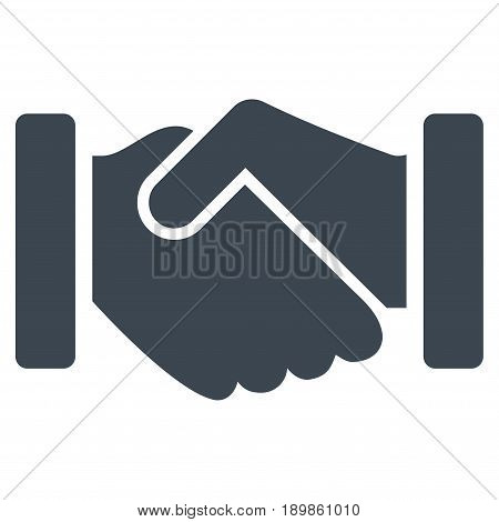 Smooth Blue Agreement Handshake toolbar icon. Vector pictograph style is a flat symbol on diagonal hatch transparent background.