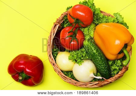 Cooking Concept, Vegetables, Lettuce, Tomatoes, Onions, Peppers, Cucumber In Basket