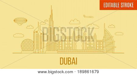 Dubai City skyline linear. Vector line art style panoramic Dubai. Outline City skyscrapers illustration. Buildings customizible and separated. Editable stroke. Travel and tourism background