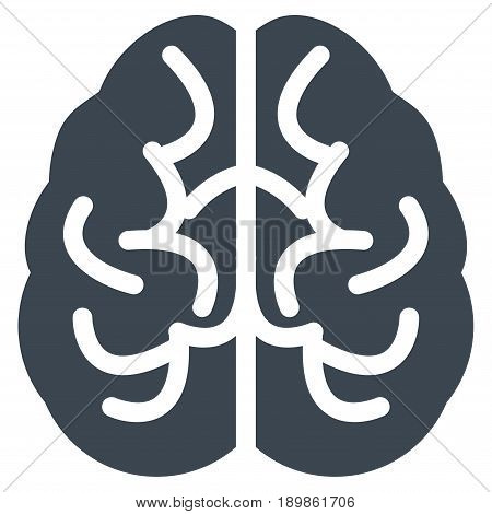 Smooth Blue Brain toolbar pictogram. Vector pictogram style is a flat symbol on diagonal hatch transparent background.
