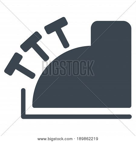 Smooth Blue Cash Register interface icon. Vector pictograph style is a flat symbol on diagonal hatch transparent background.