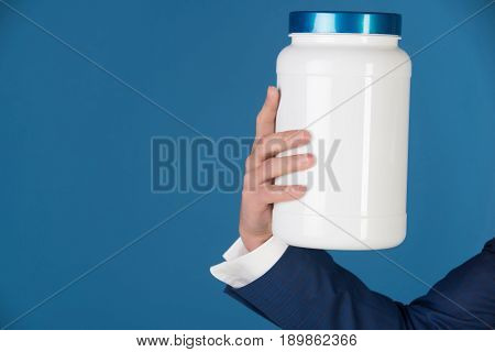 Hand Hold Plastic Jar With Vitamins Or Drugs, Moneybox