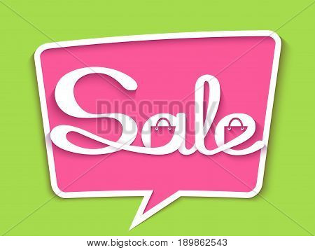 Sale banner with calligraphic inscription in comic speech bubble. Vector illustration made in paper cut out style.