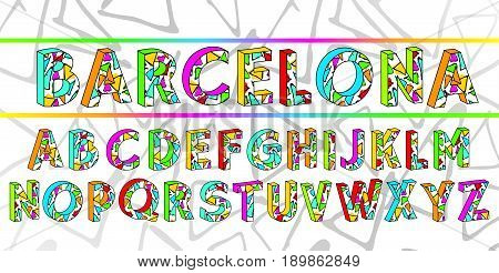 The alphabet in style of the Spanish artist of Antoni Gaudi, vector Eps10 image. Barcelona summer font.