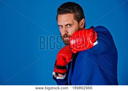 Boxer Man, Businessman In Outfit And Red Boxing Gloves