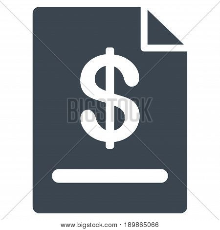 Smooth Blue Invoice interface toolbar icon. Vector pictogram style is a flat symbol on diagonal hatch transparent background.