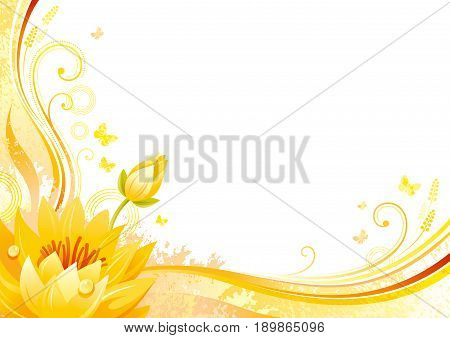 Autumn background with water lily flower, falling leaves, butterflies, abstract wave lines, swirls, grunge pattern, copy space for text. Elegant modern seasonal vector illustration.