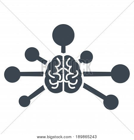 Smooth Blue Mind Control Links interface pictogram. Vector pictogram style is a flat symbol on diagonal hatch transparent background.