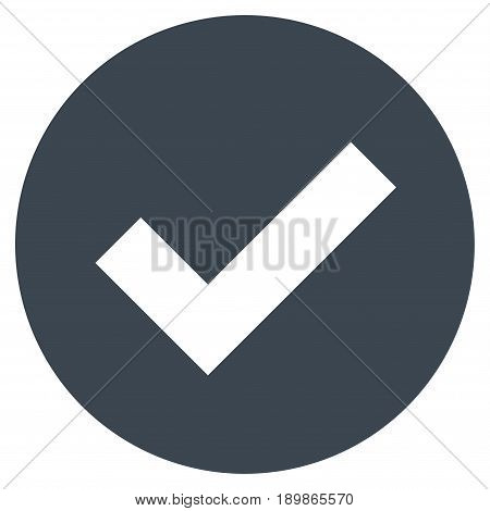 Smooth Blue Ok toolbar pictogram. Vector pictograph style is a flat symbol on diagonal hatch transparent background.