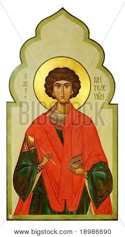 Icon on wood of the Saint Pantaleon (Panteleimon) the Holy healer
