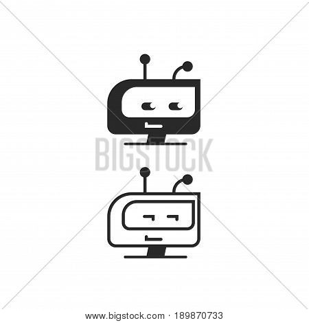 Robot head vector icon, chatbot idea or bot logo isolated, black and white flat cartoon line outline style
