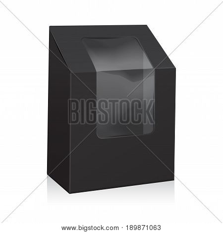 Vector Black Blank Cardboard Triangle Box. Take Away Boxes Packaging Mock up For Sandwich, Food, Present, Other Products with Plastic Window for your design