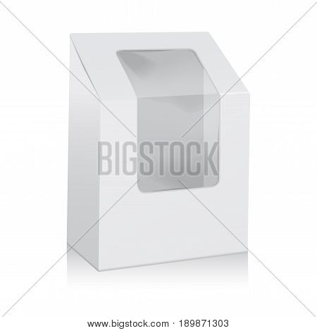 Vector White Blank Cardboard Triangle Box. Take Away Boxes Packaging Mock up For Sandwich, Food, Present, Other Products with Plastic Window for your design