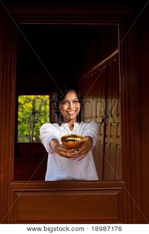 Gorgeous Woman Offering Thai Bowl