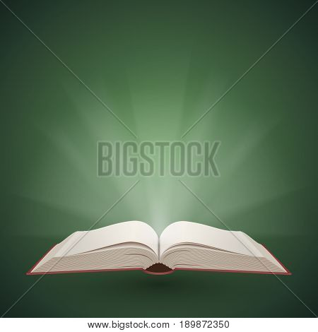 Open book with light coming from it. Education and reading concept. Vector illustration