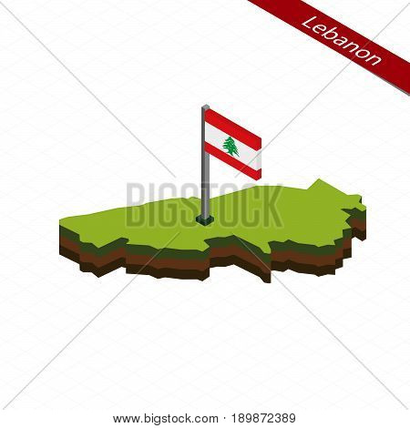 Lebanon Isometric Map And Flag. Vector Illustration.