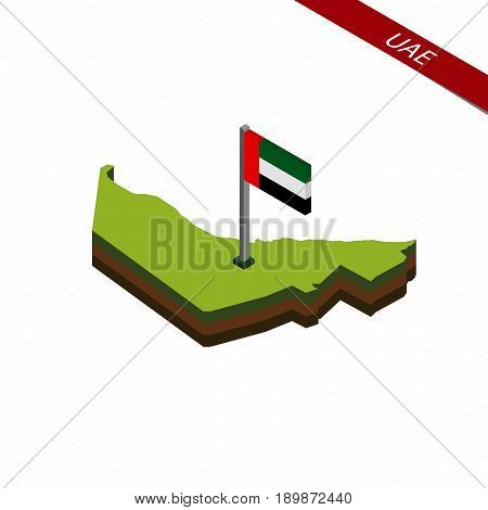 United Arab Emirates Isometric Map And Flag. Vector Illustration.