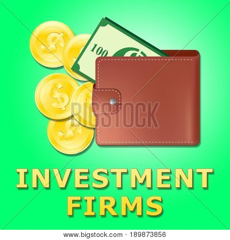 Investment Firms Means Investing Companies 3D Illustration