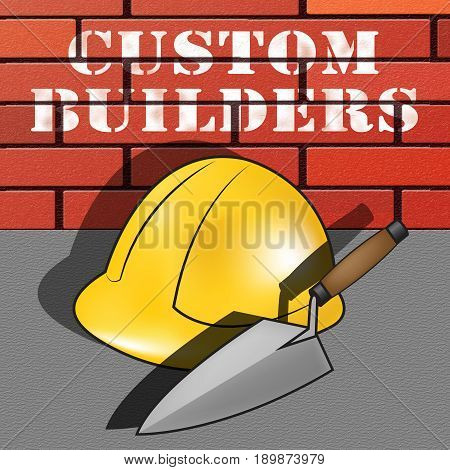 Custom Builders Represents Customized Building 3D Illustration