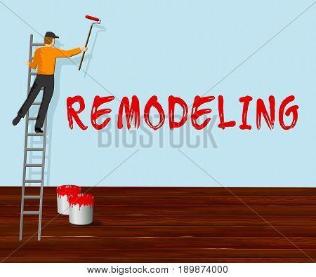 Home Remodeling Shows House Remodeler 3D Illustration