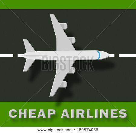 Cheap Airlines Shows Special Offer Flights 3D Illustration