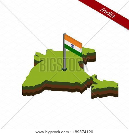 India Isometric Map And Flag. Vector Illustration.