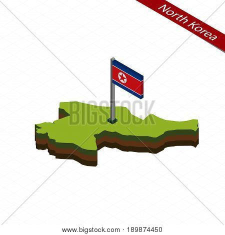 North Korea Isometric Map And Flag. Vector Illustration.