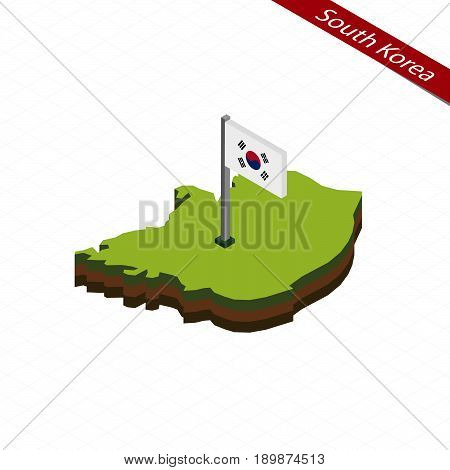 South Korea Isometric Map And Flag. Vector Illustration.