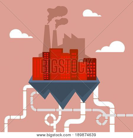 Polluted Industry Shows Refinery Smog 3D Illustration