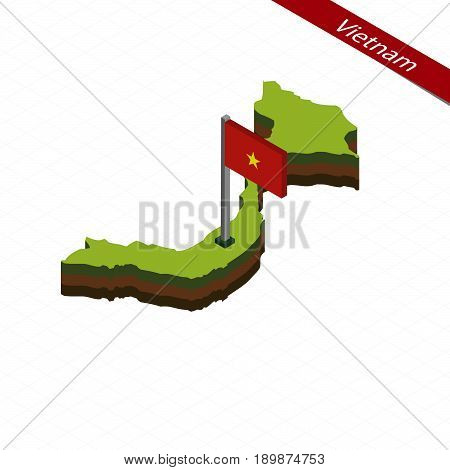 Vietnam Isometric Map And Flag. Vector Illustration.