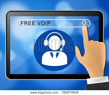 Free Voip Tablet Representing Internet Voice 3D Illustration
