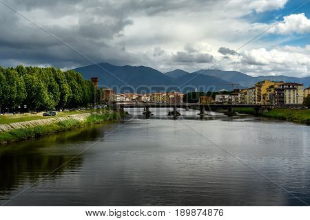 View of Pisa and Arno River, Tuscany