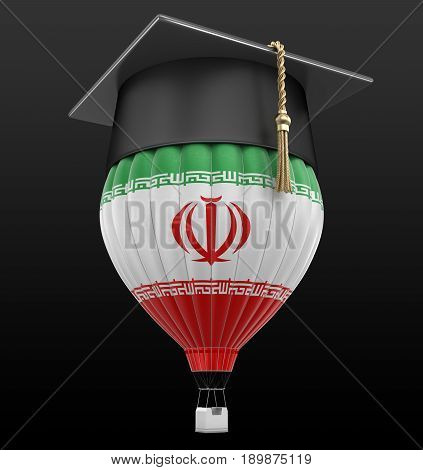 3D Illustration. Hot Air Balloon with Iranian Flag and Graduation cap. Image with clipping path
