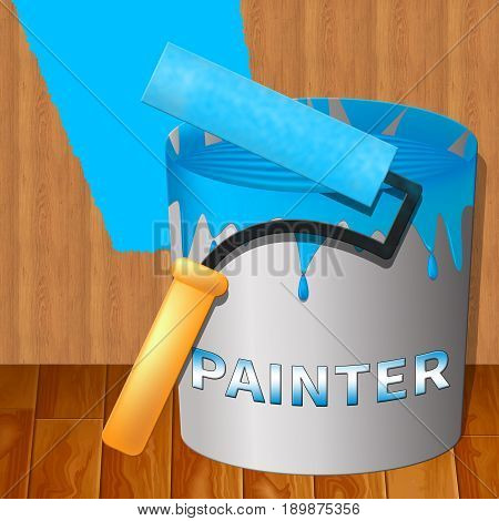 Home Painter Means House Painting 3D Illustration